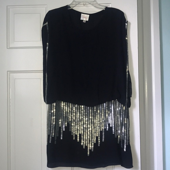 Parker Dresses & Skirts - Parker Black Dress with Silver Sequins